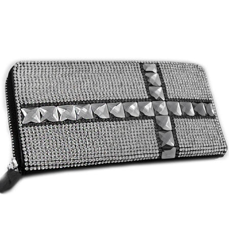 Leather Full Crystal Rhinestone Studded Cross Wallet