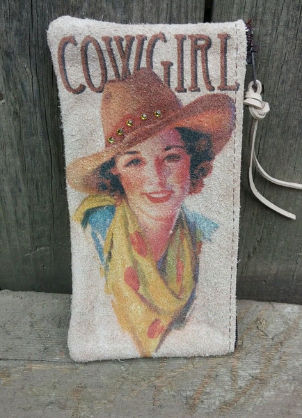 Vintage Cowgirl Suede/Leather Cosmetic Bag/Pouch