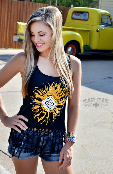 Crazy Train Sweet Southern Sunflower Tank Top with Fringe Shirt