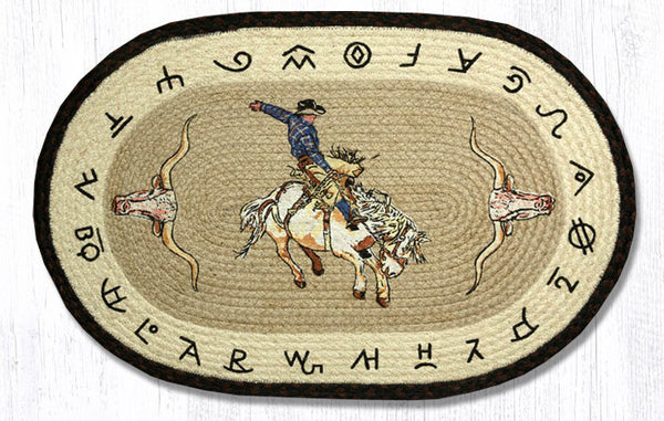 "Rodeo Cowboy /Bronco/Brands Braided Jute Rug 20"" x 30"" Oval"