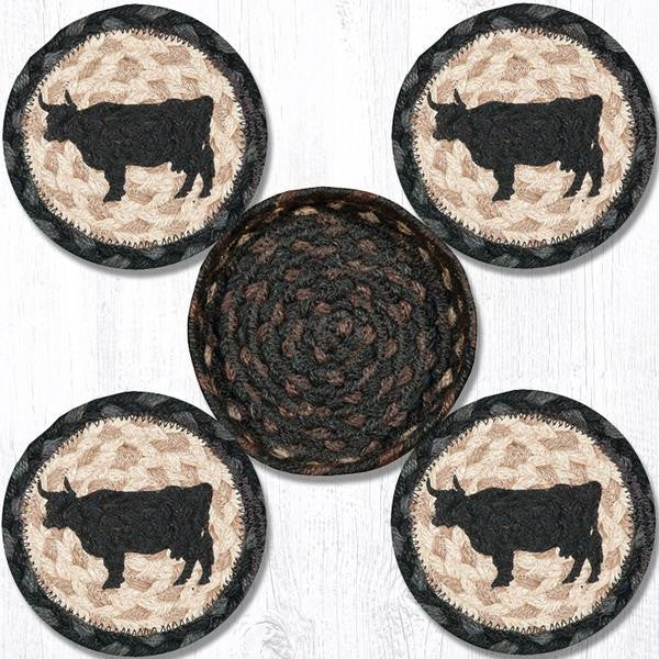 Sheep or Cow Silhouette Jute Coasters Set in Basket