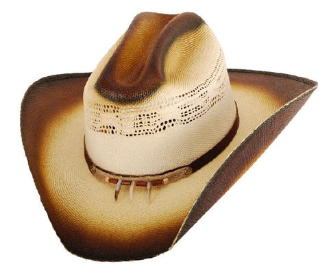 Flack Burnt Gallup Straw Cowboy Hat Claw Hatband
