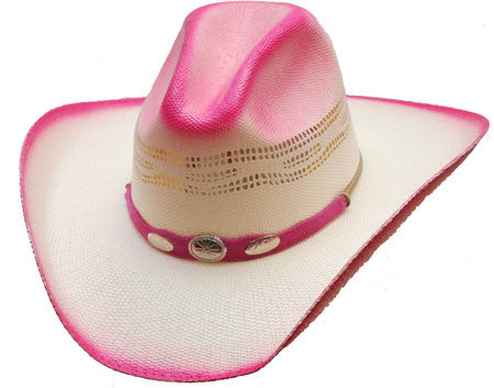 Hot Pink Ombre Straw Cowgirl Cowboy Hat with Silver Conchos-Kids & Adult Sizes