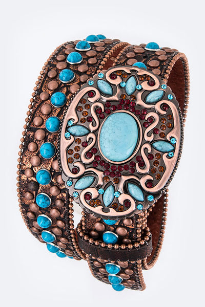 Western Leather Belt with Turquoise Stones, Studs and Rhinestones