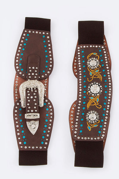 Western Embroidered Leather and Stretch Belt with Conchos, Rhinestones and Studs
