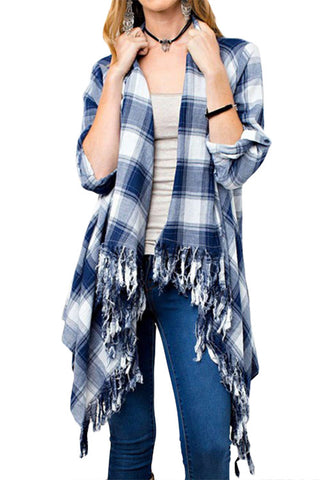 Down Home Chic Plaid Cardigan with Shawl Collar and Fringe
