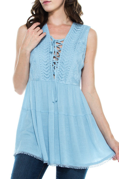 Southern Charm Chambray Crocheted Lace Flowy Tunic