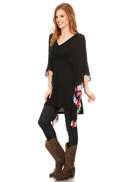 Black Wide Sleeve Tunic with Multi-Colored Tassels