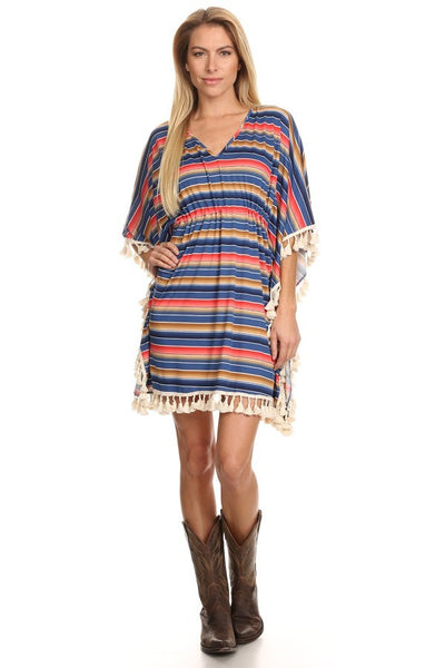 Southwest Serape Striped Tunic Dress with Tassels