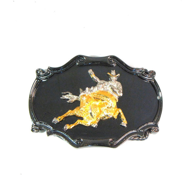 Bronc Rider Rodeo Cowboy Gold/Silver/Enamel Belt Buckle Made in USA