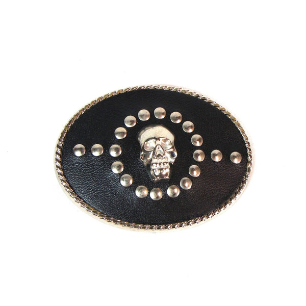 Black Leather Studded Skull Belt Buckle USA Made