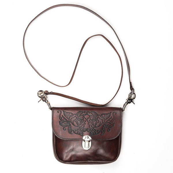 Leather Crossbody Bag with Tooled Roses