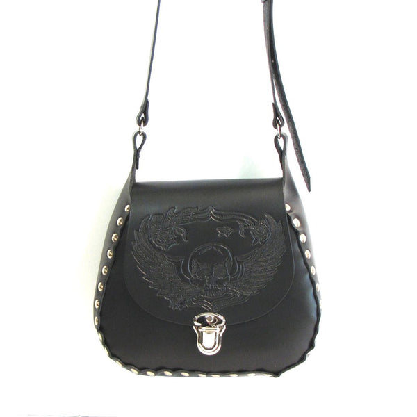 Black Leather Studded Crossbody Purse with Winged Skull