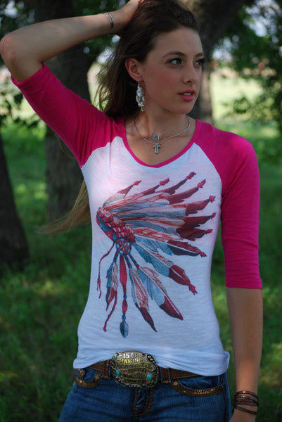 Princess Headdress Baseball Tee Shirt by Original Cowgirl Clothing Co.