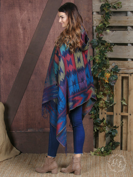 Wolf Creek Aztec Hooded Poncho with Fringe