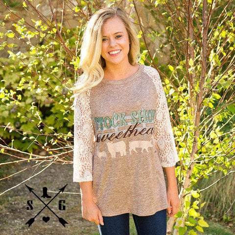 Southern Grace Stock Show Sweetheart Lace Raglan Sleeves