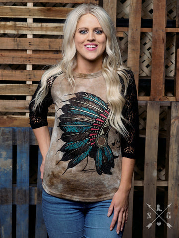 Turquoise Chief on Vintage Raglan Shirt