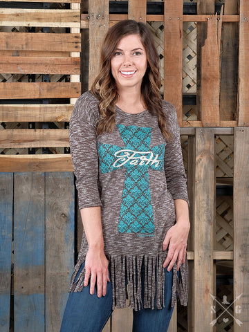 Faith on Turquoise Cross Rich Heathered Brown Fringe Tunic