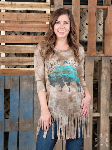 Roam Free Turquoise Buffalo Tunic with Fringe