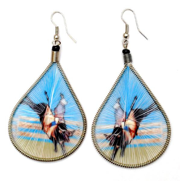 Rodeo Cowboy Bull Rider Threaded Earrings