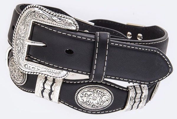 Western Black Leather Belt with Silver Conchos and Silver Accents
