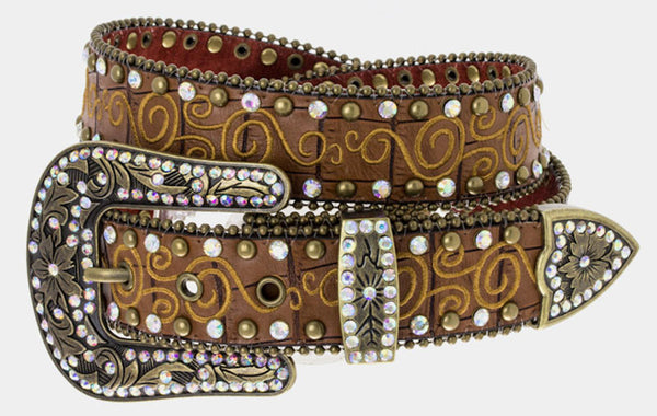 Western Brown Leather Belt with Studs and Rhinestones Embroidered Embellishments
