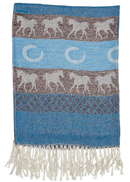 Pashmina Cashmere & Silk Equestrian Scarf with Horses and Horseshoes Blue or Pink