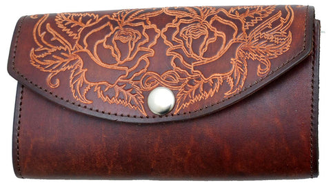 98bc1a3835c6 Ladies Tooled Brown Leather Organizer Wallet with Roses