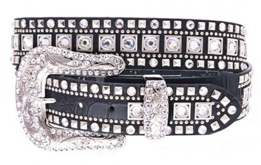 Rhinestone Studded Western Black Leather Belt