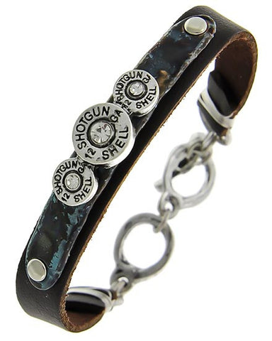 Leather Bracelet Shotgun Shells & Rhinestones/ Turquoise Patina