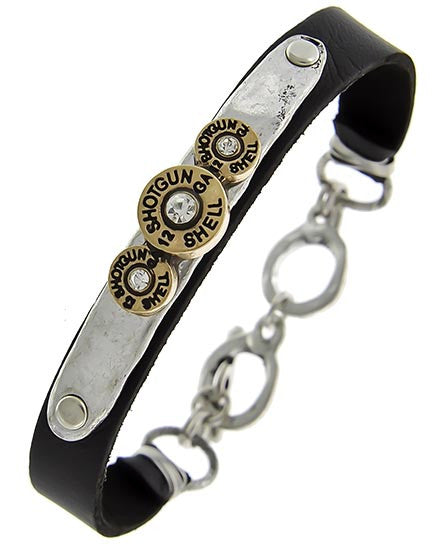 Leather Bracelet 12 Guage Shells & Rhinestones/Silver/ Copper