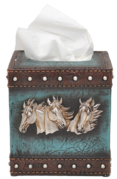Horse Heads Tissue Box Holder-Leather Look