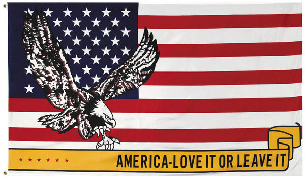 Large 3' x 5' USA American Flag With Eagle Love It Or Leave It