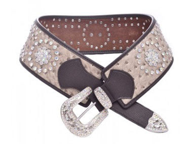 Western Wide Black Leather Belt with Star Studs and Rhinestone Buckle