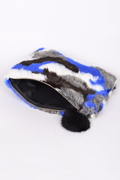 Mixed Color Print Faux Fur Purse