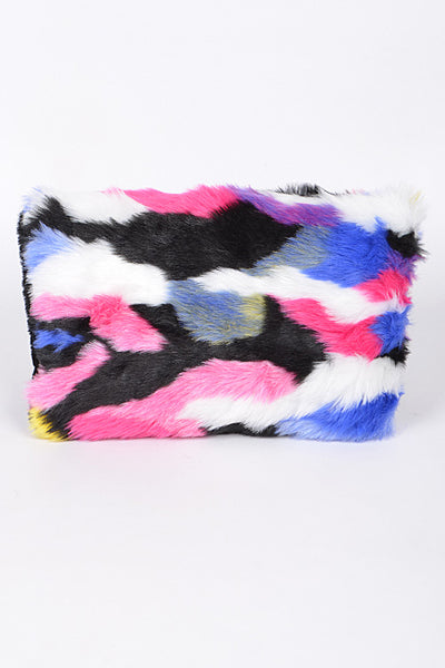 Colorful Faux Fur Clutch
