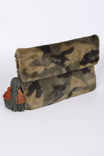 Army Faux Fur Clutch
