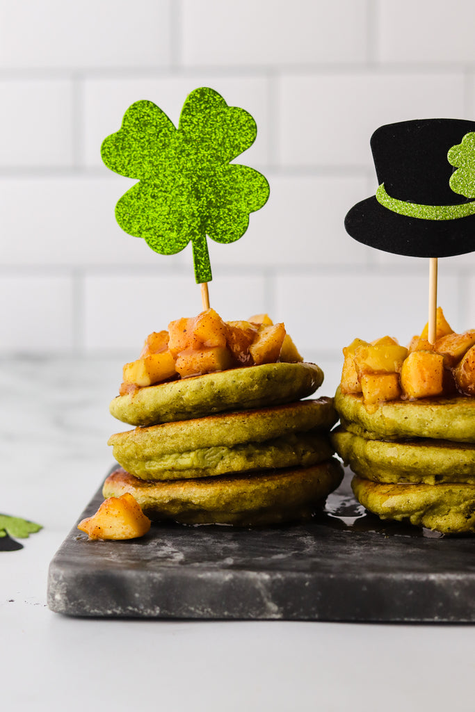 Mini Matcha Pancakes with Apple Topping
