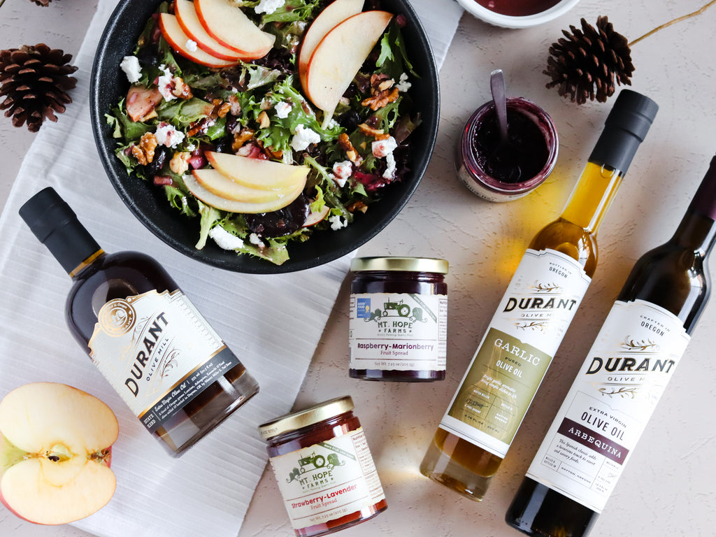 Oregon Fall Harvest Salad with Raspberry Marionberry Vinaigrette, Thanksgiving Salad Recipe, Apples, Goat Cheese, Oregon EVOO, Durant EVOO, EVOO, Raspberry, Marionberry, Oregon Berries