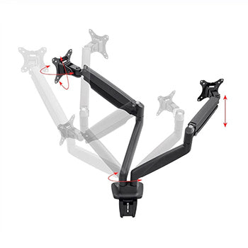 Monoprice Smooth Full Motion Dual Monitor Adjustable Gas Spring Desk Mount - Black For Large Screens, Supports Up To 86cm Monitors, With 8.9Kgs. Max Weight Per Display, Easy Set up - Workstream Collection