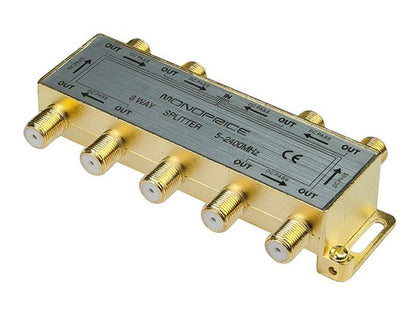 Monoprice 8-Way Coaxial Splitter, Gold Plated For Satellite/Cable TV Antenna Main Image