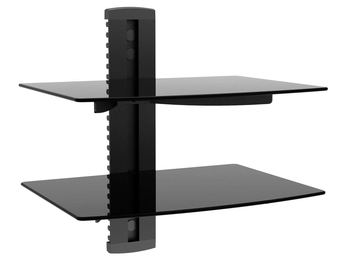 2 Shelf Wall Mount Bracket for TV Components with Weight Capacity 17.6lbs each shelf by Monoprice
