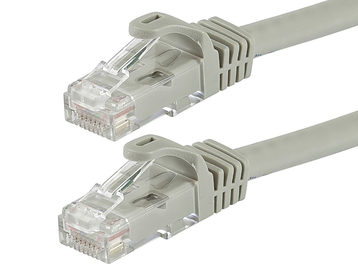 Flexboot Cat6 Ethernet Patch Cable - Snagless RJ45  Stranded  550Mhz  UTP  Pure Bare Copper Wire  24AWG  5 pack by Monoprice