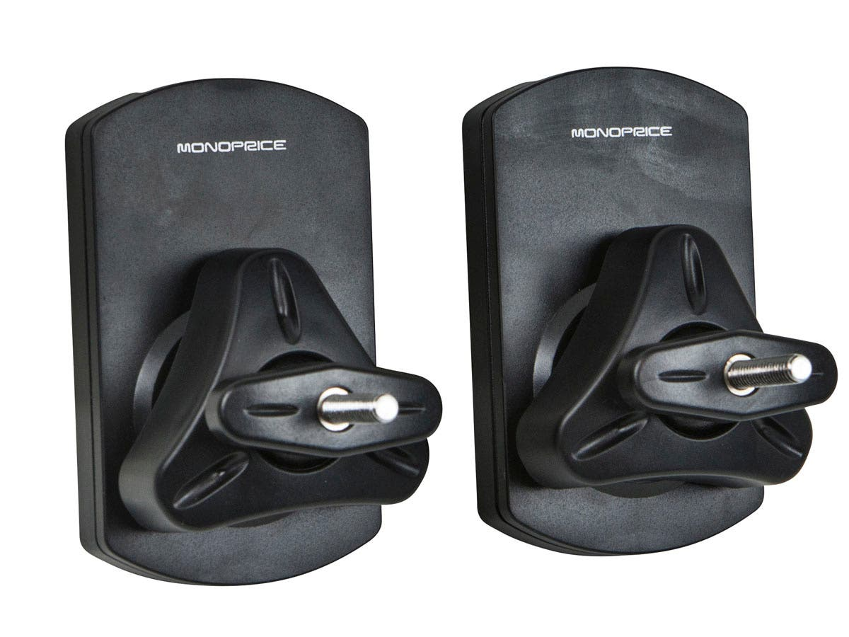 Low Profile, 10 kg (22 lbs), Capacity Speaker Wall Mount Brackets (Pair), Black by Monoprice