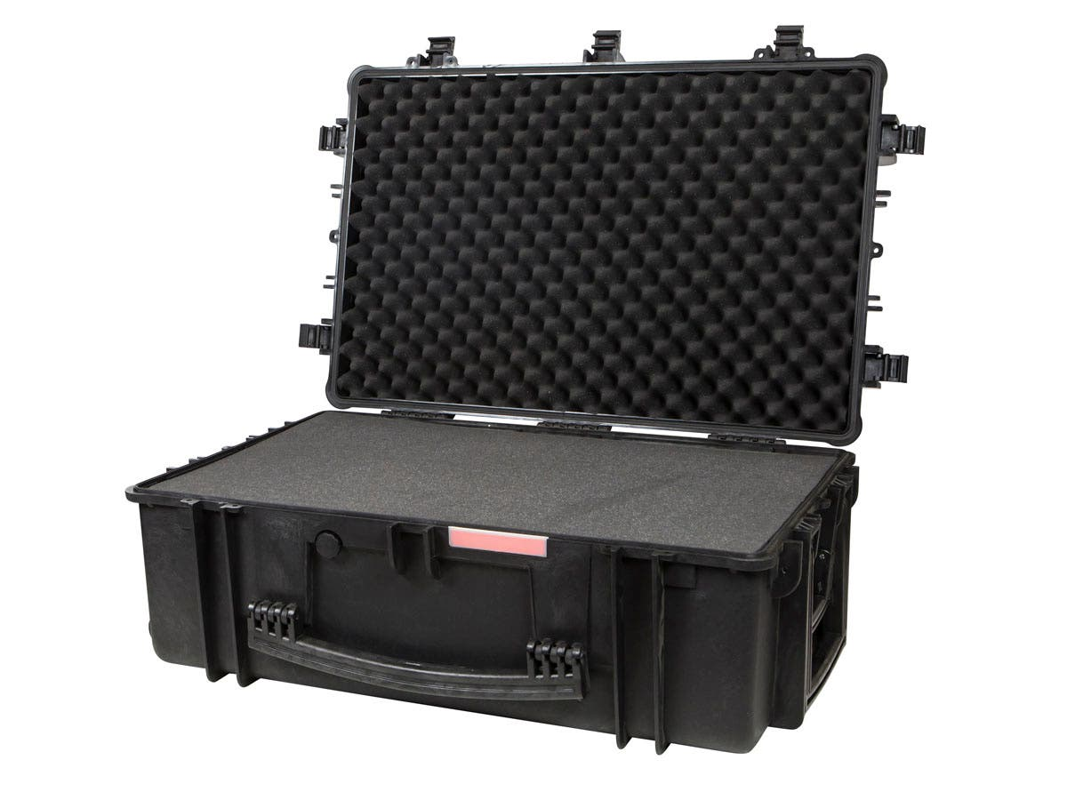 "Weatherproof Hard Case with Wheels and Customizable Foam, 83 x 55 x 33 cm (33"" x 22"" x 13"") by Monoprice"