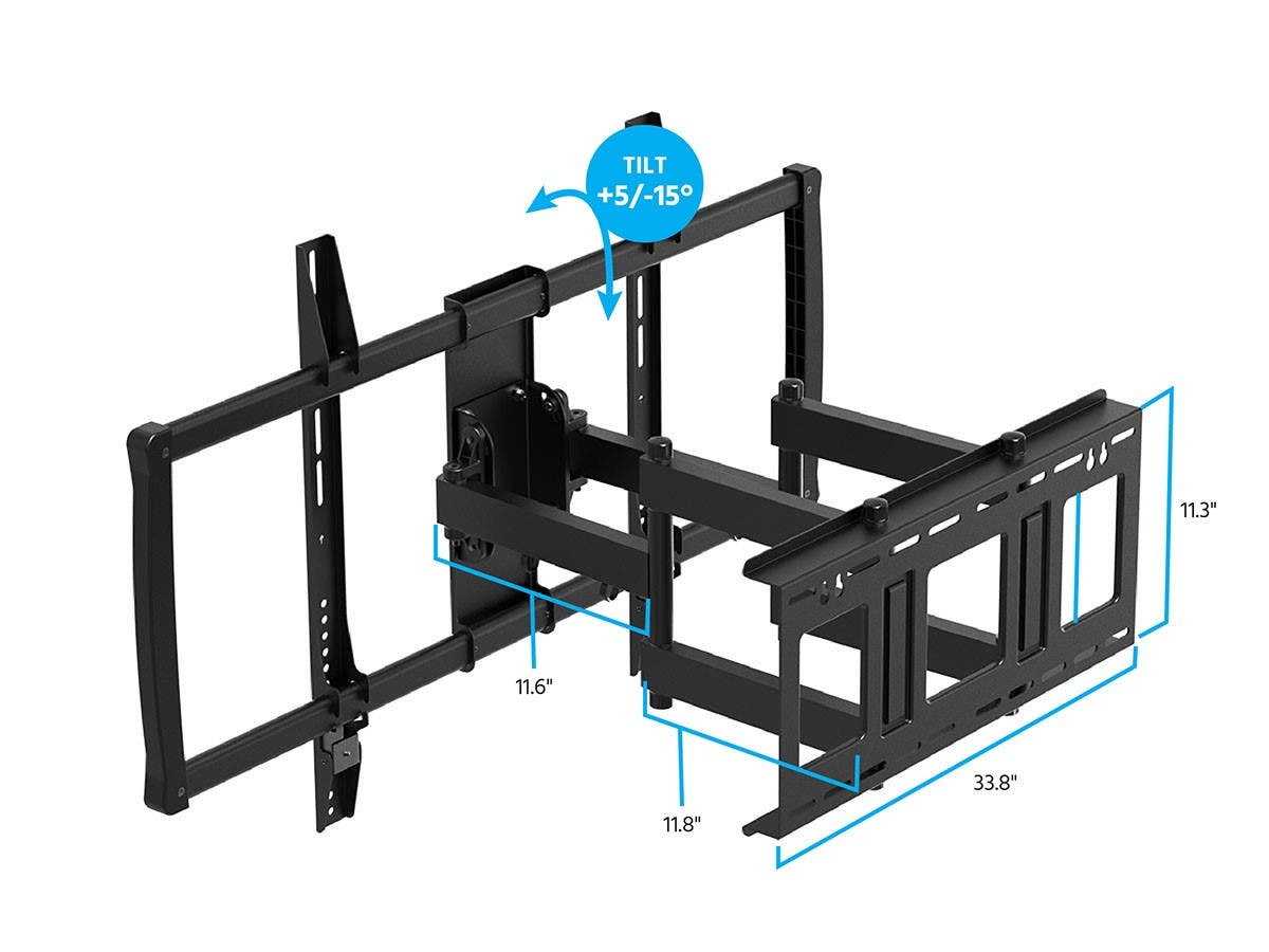 Stable Series Full-Motion Articulating TV Wall Mount Bracket for TVs 152cm to 254cm  Max Weight 79 kgs.  Extends from 7cm to 62cm VESA Up to 900x600 Concrete & Brick  UL Certified by Monoprice