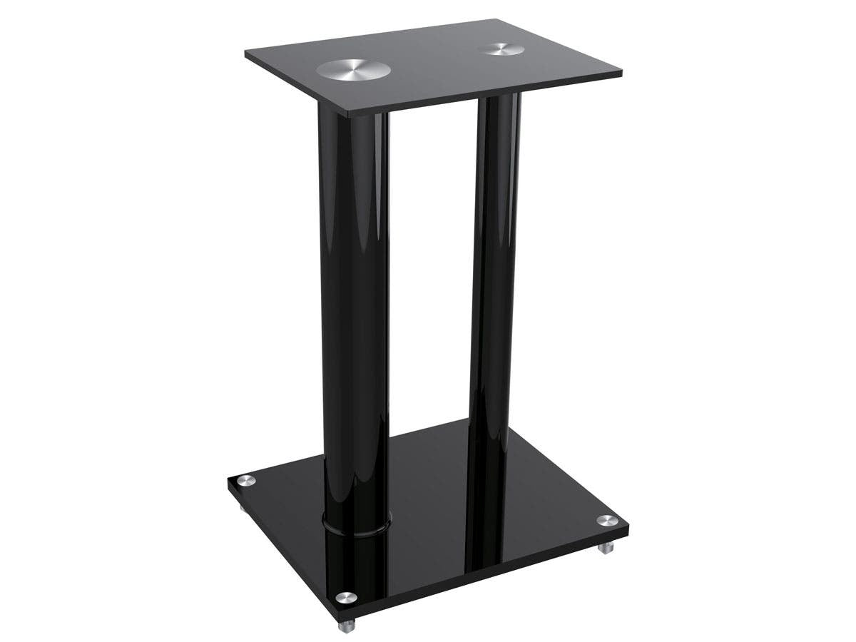 Glass Floor Speaker Stands (Pair) - Black, Support Up to 10 Kgs. (22 Lbs.) Weight, Constructed of Tempered Glass With Aluminum Vertical Supports by Monoprice