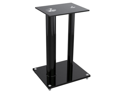 Monoprice Glass Floor Speaker Stands (Pair) - Black, Support Up to 10 Kgs. (22 Lbs.) Weight, Constructed of Tempered Glass With Aluminum Vertical Supports Main Image