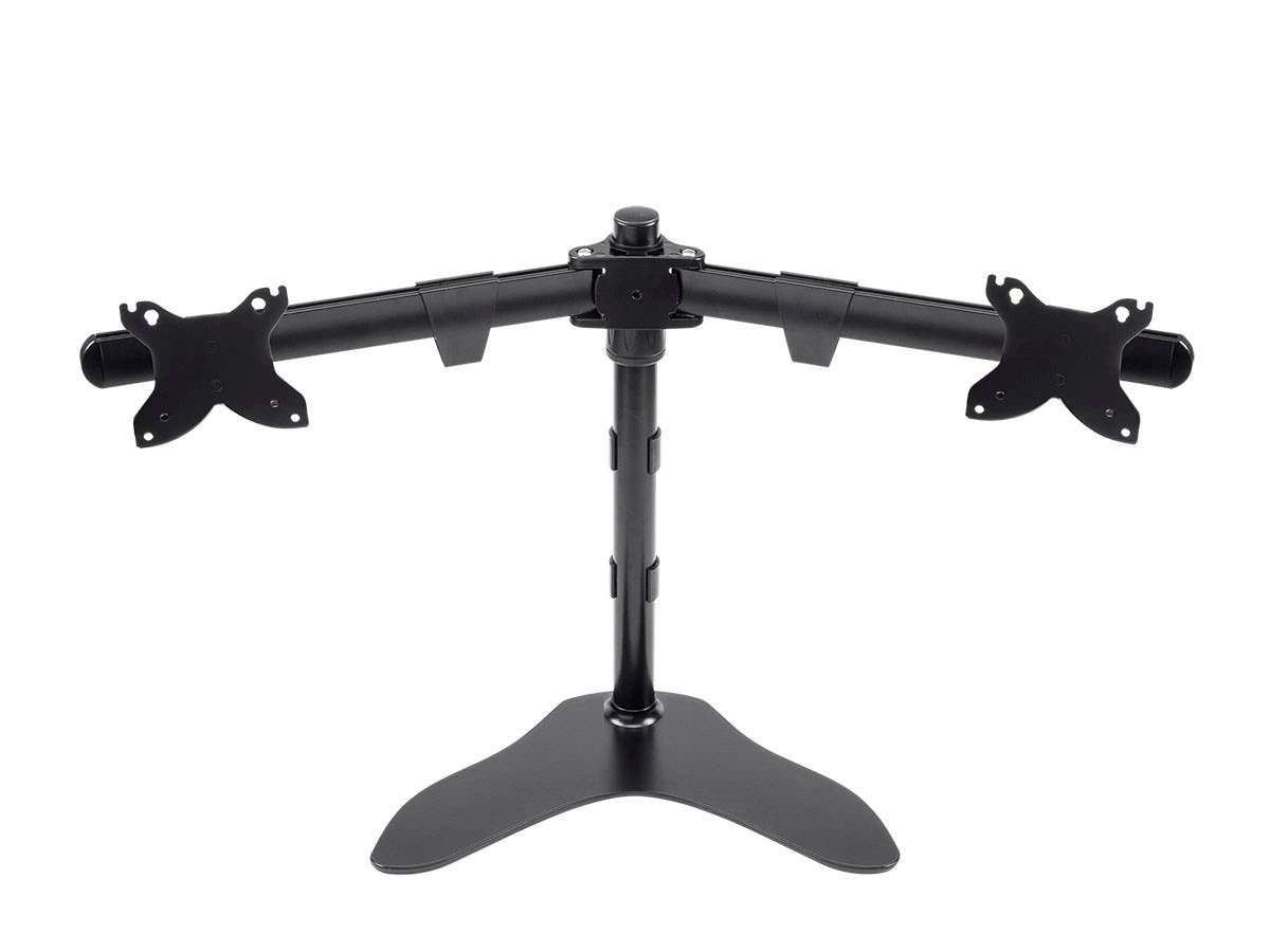 Dual Monitor Free Standing Desk Mount, High-Grade Aluminum And Steel For Up to 76.2cm Displays by Monoprice