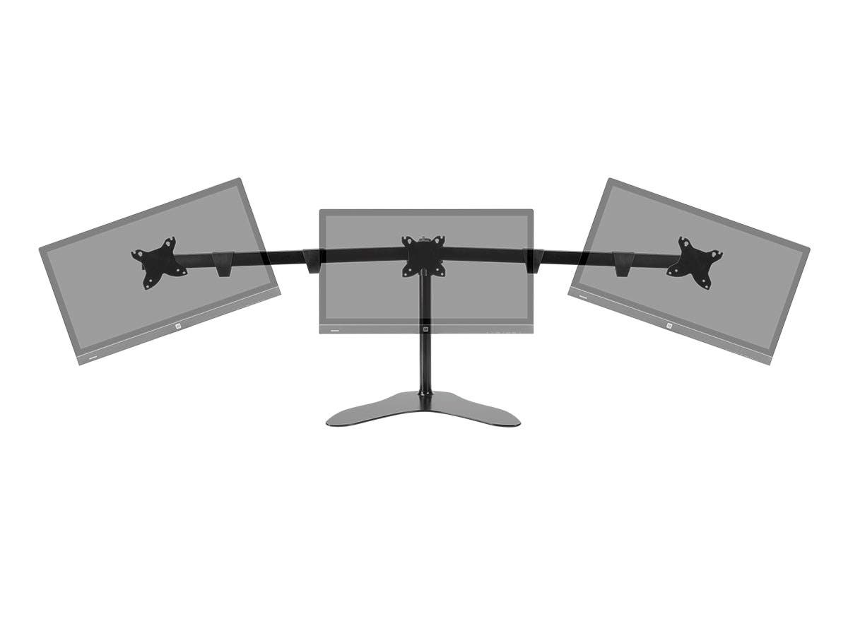Triple Monitor Free Standing Desk Mount For Screen Sizes Up to 76 cm Per Display, High-Grade Aluminum And Steel by Monoprice